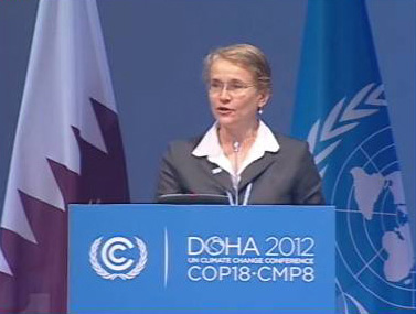GWP Executive Secretary Dr Ania Grobicki gives statement at COP18